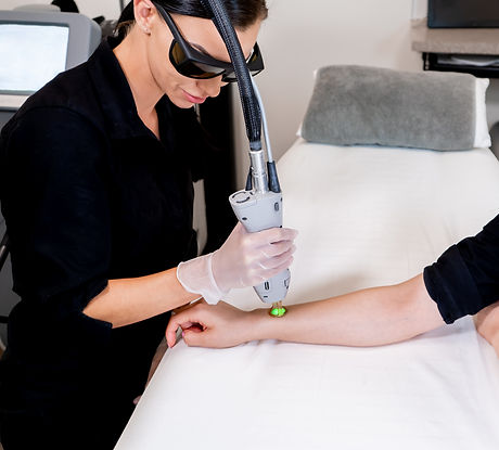 Laser hair removal session with beauty t