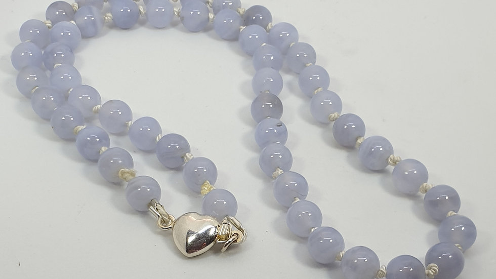 Blue lace agate hand knotted necklace