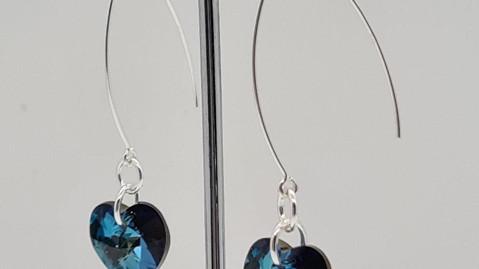Blue Swarovski heart earrings
