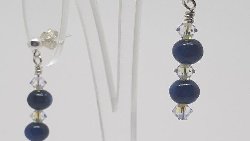 Kyanite earrings with Swarovski crystals