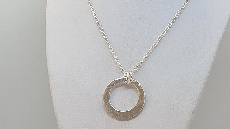 20mm Offset textured circle pendant