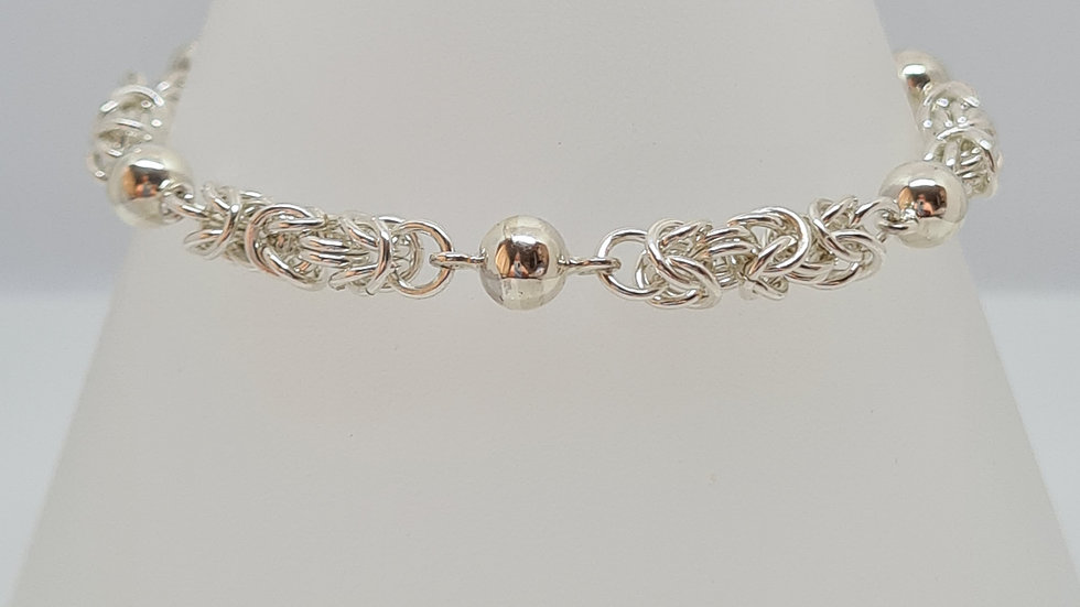 Byzantine chainmaille and silver ball bracelet