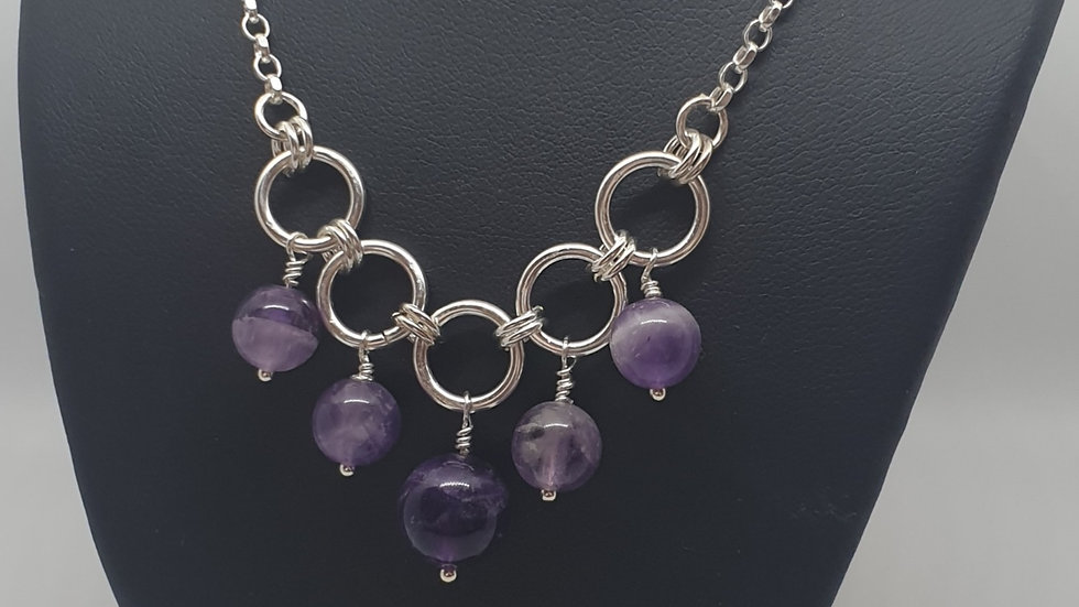 Amethyst 5 ring necklace