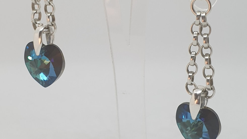 Blue Swarovski heart earrings