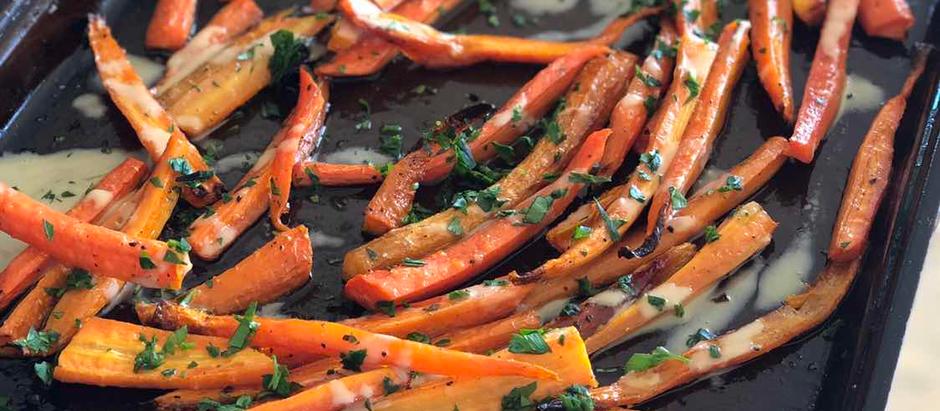 Honey Roasted Tahini Carrots