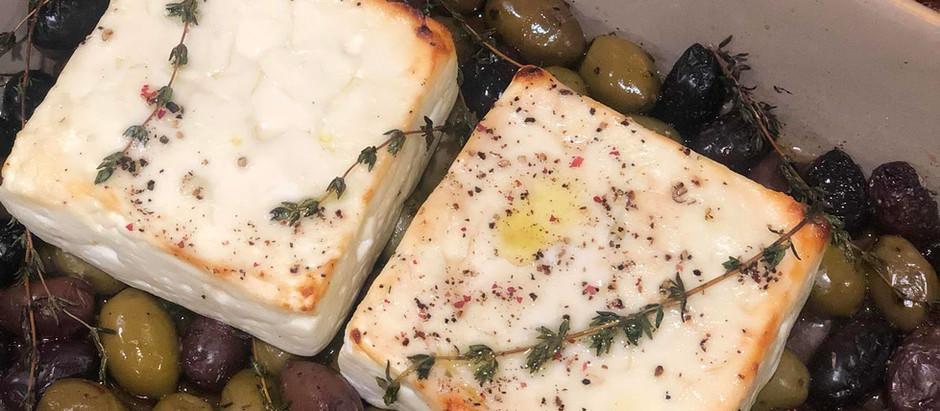Baked Feta with Olives, Honey & Thyme