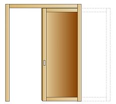 Porta interna in legno massello di Abete con apertura scorrevole interno muro.