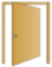 Porta interna in legno massello di Abete con apertura rototralante con ammortizzatore a fine corsa.
