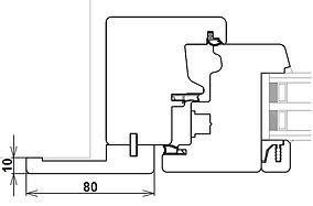 Disegno tecnico coprifilo complanare all'anta per ferramenta a scomparsa
