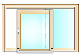 Disegno finestra con apertura scorrevole complanare. Composto da anta scorrevole e una fissa.