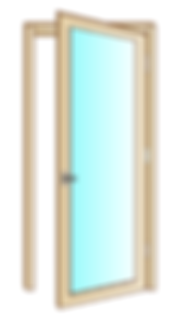 Serramento in legno o legno/alluminio con apertura a battente.