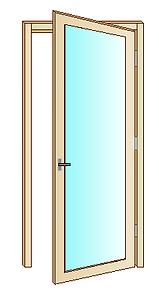 Disegno portafinestra con apertura a battente con cerniere laterali.