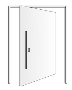 Disegno portoncino ingresso con apertura a bilico verticale.