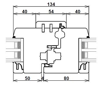 Disegno tecnico sezione orizzontale nodo centrale finestra e portafinestra in due ante