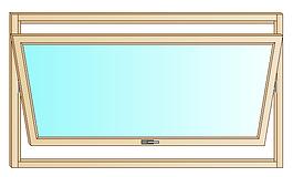 Serramento in legno con apertura a bilico orizzontale.