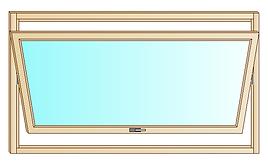 Serramento in legno con apertura a bilico orizzontale, l'anta si apre sia veerso l'interno che verso l'esterno.