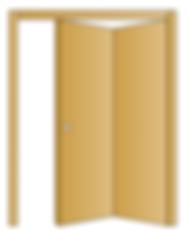 Porta interna in legno massello di abete con apertura a libro. Le ante possono essere simmetriche o asimmetriche.