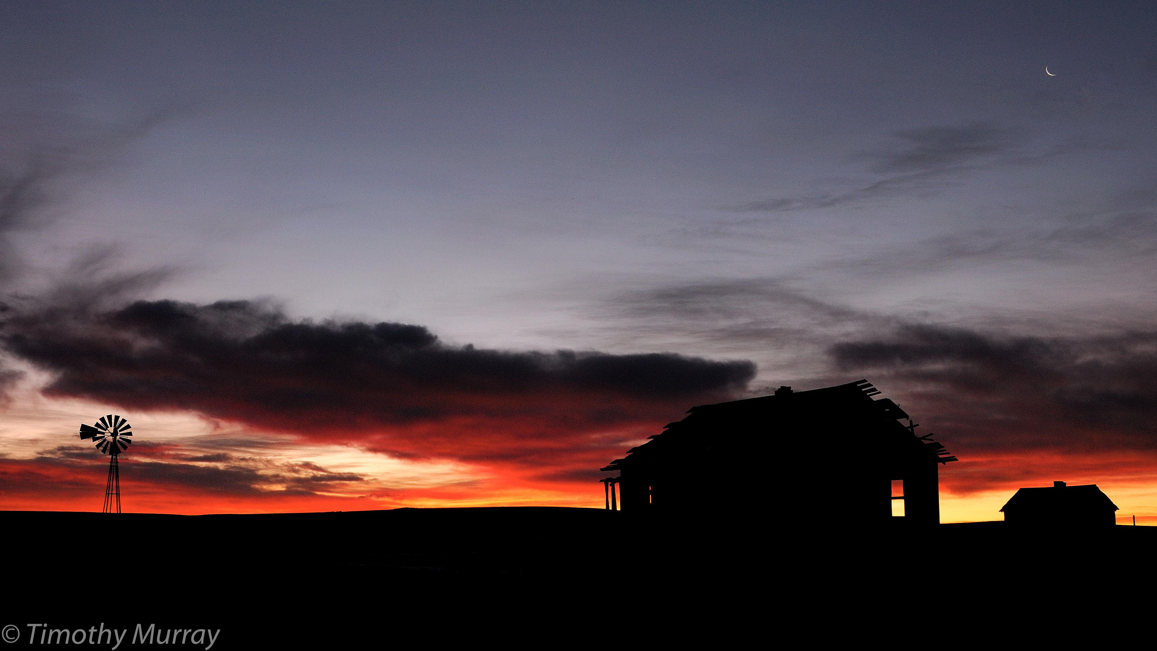 Sunrise, House, Moon