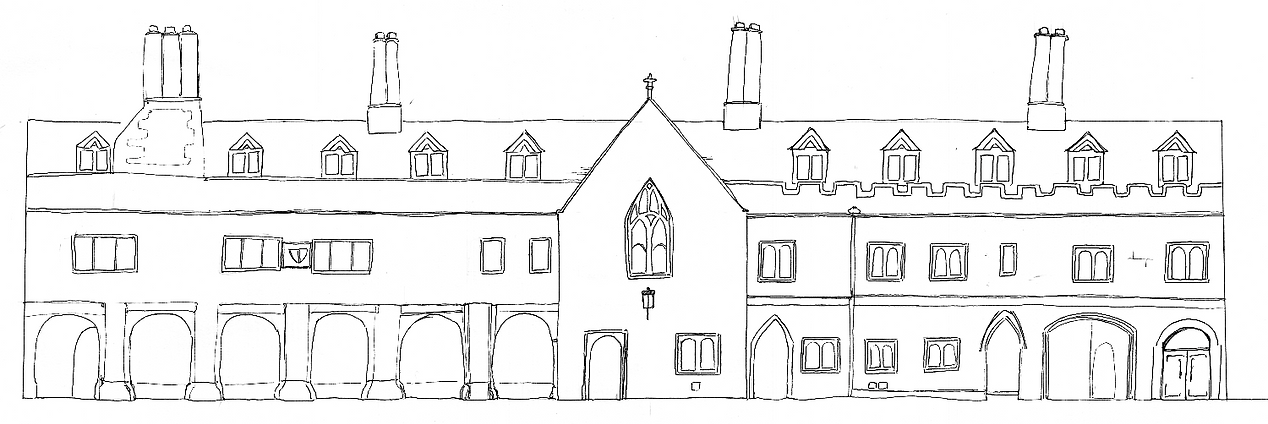 drawing of Pembroke College, Cambridge
