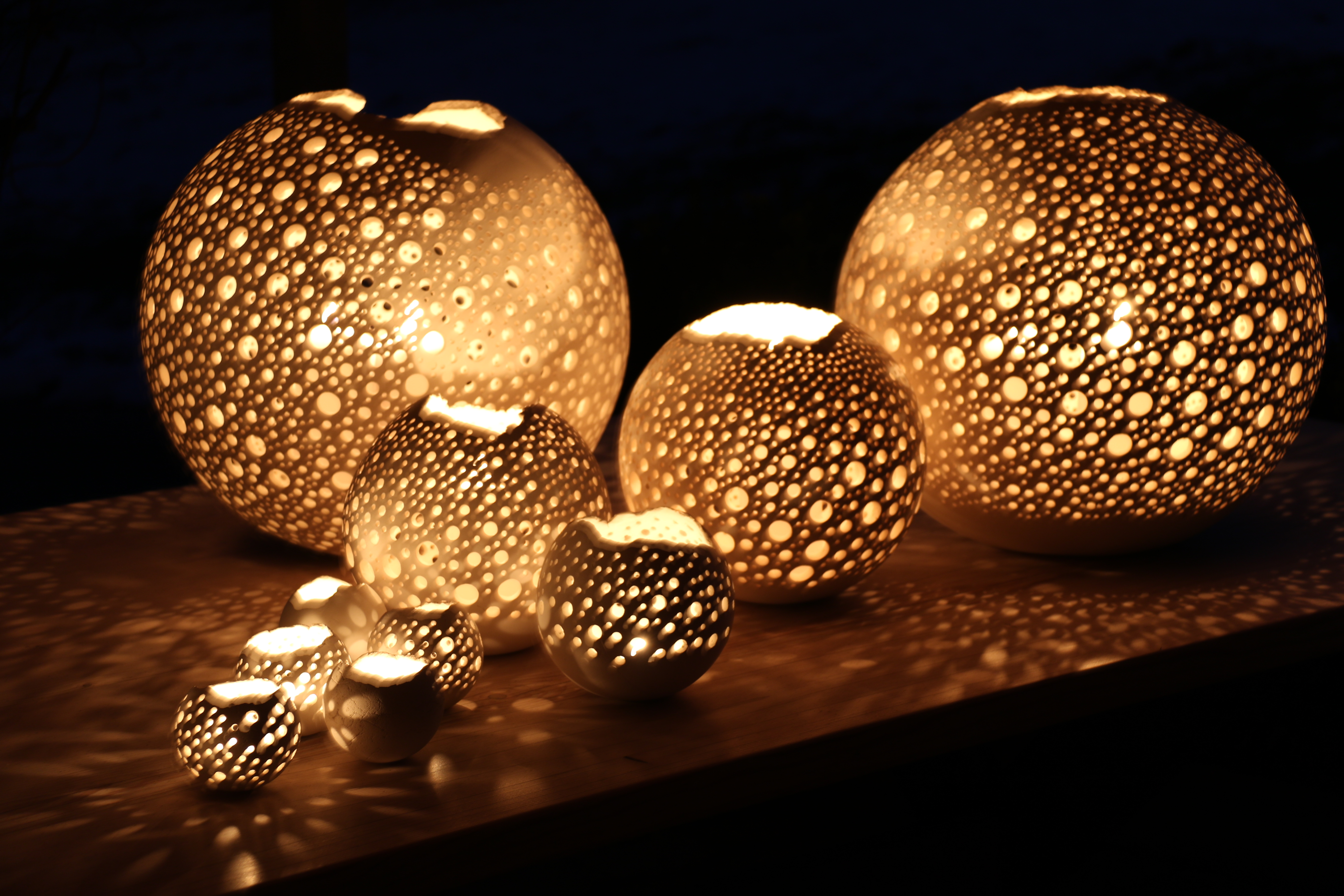 Kugellampen mit Kerze