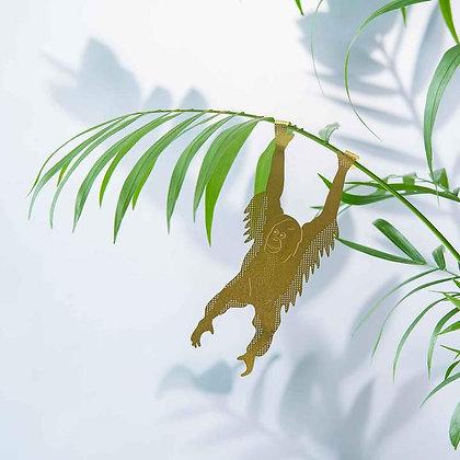Orang-outan, animal en laiton à accrocher en déco de plantes | Marseille