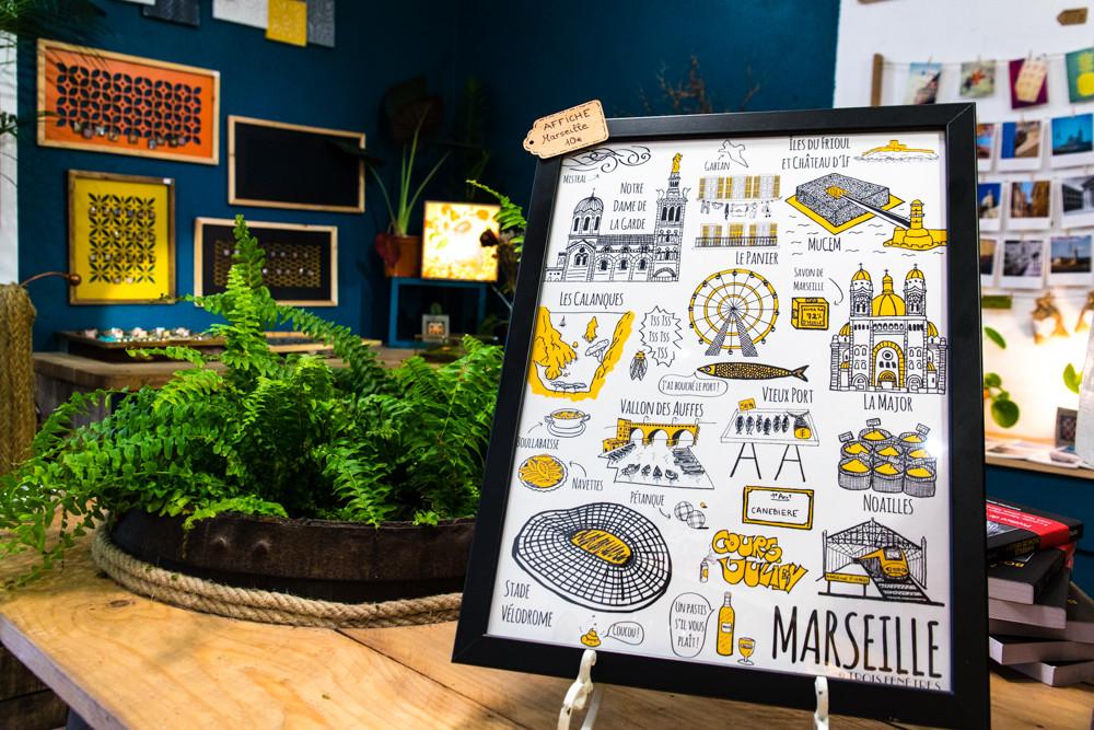 Affiche Marseille - Souvenir de Marseille - Illustration Trois Fenêtres