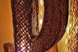 Lampes cactus décoration paille