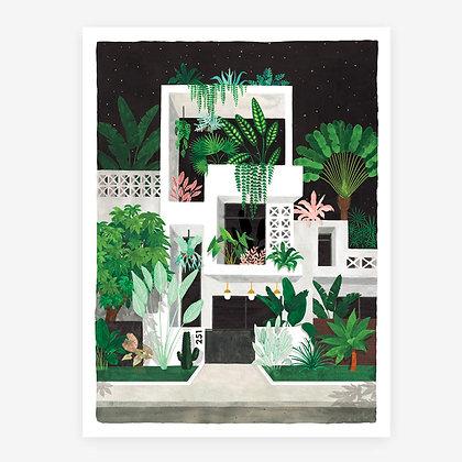 Affiche Miami by Night - Maison de rêve bordée de végétation tropicale