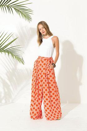 Pantalon pour femme très large motif retro corail - Vêtement retro vente en ligne - Marseille