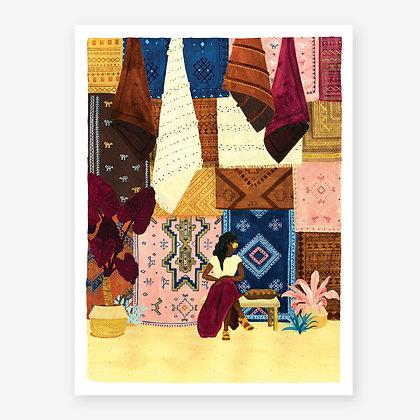 Poster Souk de Marrackech - Mille et une couleurs - Affiche Wanderlust