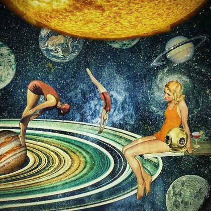 Lampe Galaxie - Nageuses vintage dans un ciel étoilé - Cadeau jeune fille