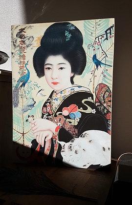 Lampe Geisha traditionnelle - Reproduction Estampe japonaise ancienne - Deco Japon