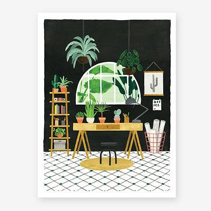 Affiche aquarelle d'un bureau pour déco coin bureau   Ambiance tropicale