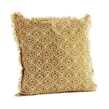 Housse de coussin tissu batik indien à franges 50 x 50 cm - Madam Stoltz
