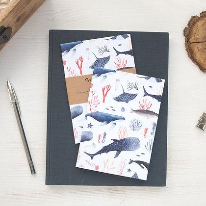 Carnet de note Baleine, raie mante et requin - carnet pour plongeur