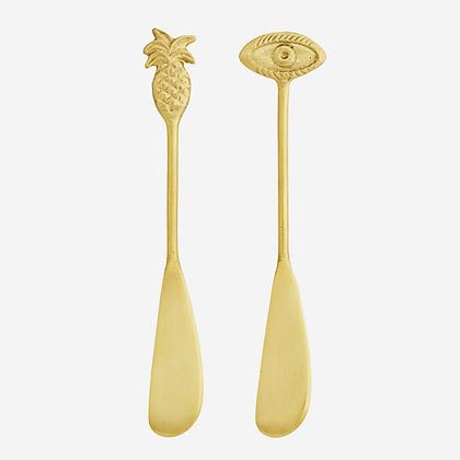 Couteau à beurre dorée oeil et ananas - Madam Stoltz - Marseille