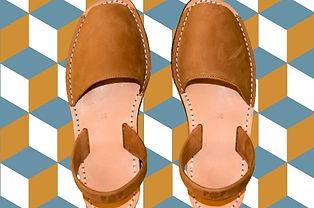 Sandales en cuir minorquines pour femme - couleur camel - Marseille