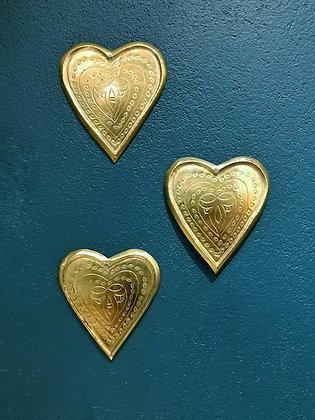 Coeur doré martelé en laiton - Coeur doré original - Artisanat du Maroc - Marseille