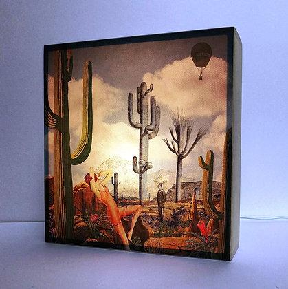 Boite lumineuse Désert de cactus de l'Arizona - Ambiance vintage - Déco