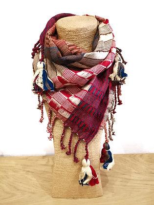 Artisanat mexicain - Echarpe tissée main - Tons rouge, bleu et blanc