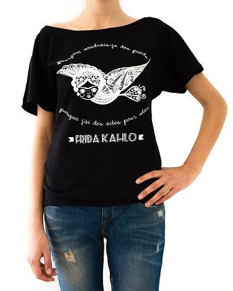 T-shirt noir pour femme bohème - Femme oiseau