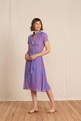 Robe portefeuille boho rose et  bleue - ANDELLA byTotem - Marseille