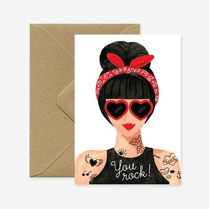 Carte de voeux Hipster Girl - Marseille