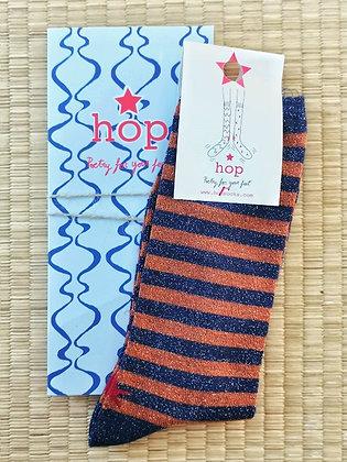 Chaussettes pour femme à lurex cuivre - Paire rayées bleu et marron - Marseille