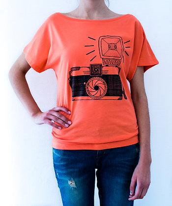 T shirt corail pour femme - appareil photo - Marseille