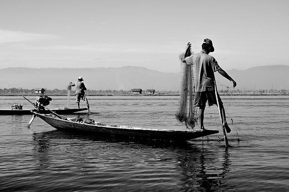 Photo pecheurs Asie Inla Lake Birmanie - Noir et blanc