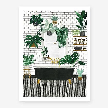 Affiche tropicale pour déco Salle de bain - Dessin Aquarelle tendance