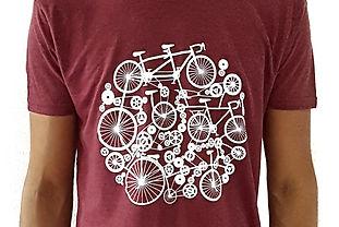 Tshirt Bordeaux Homme mecanisme bicyclet