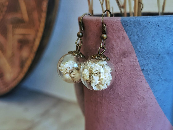 Boucles d'oreilles fleur de gypsophile - Bijoux fleurs séchées blanches - Marseille