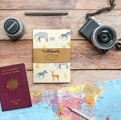 Carnet de note safari - illustrations ambiance animaux de la savane